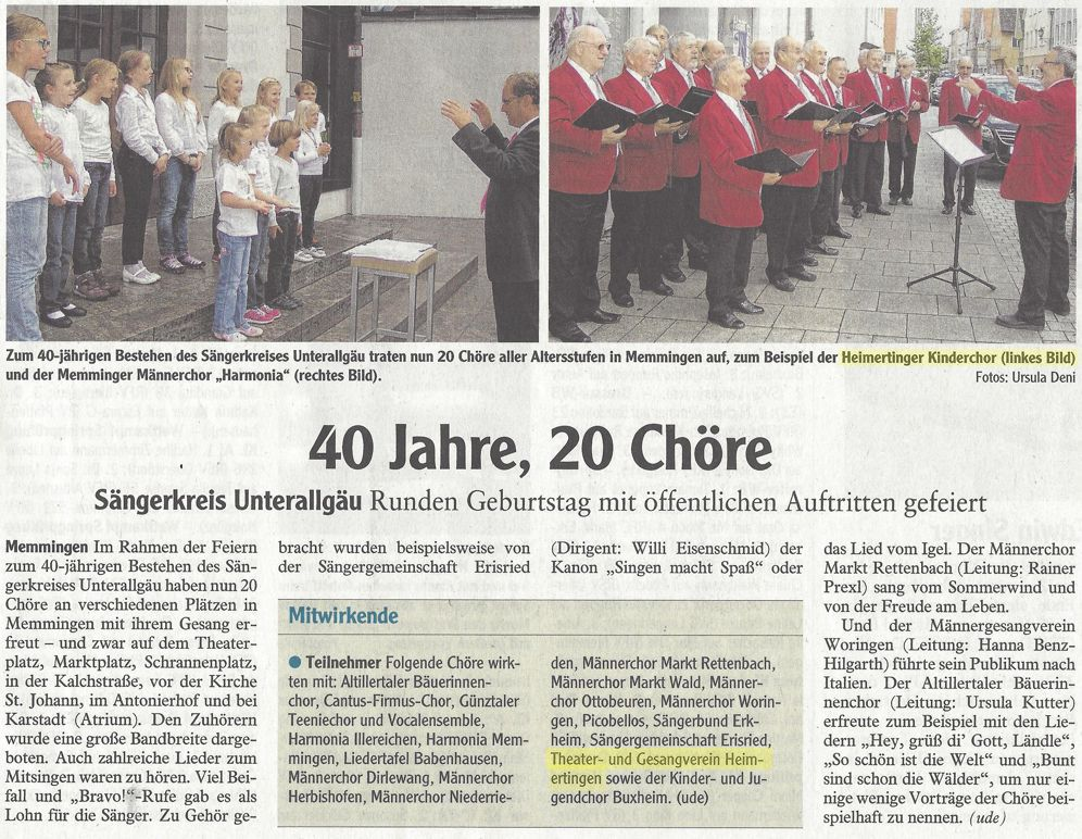Zeitungsbeicht zum Auftritt beim Singen in Memmingen